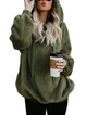 Zipper Long Sleeve Casual Solid Plus Size Teddy Bear Hoody