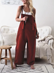 Cotton Pockets Casual Sleeveless Boyfriend Jumpsuits