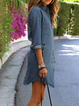 Shawl Collar Blue Women Daytime Cotton Long Sleeve  Summer Dress