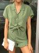 Ruffled Polka Dots Short Sleeve Shirt Collar Suits