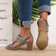 Hollow-out Heel Sandals Chunky Heel Peep Toe Sandals