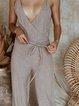 Casual Sleeveless V Neck Plus Size Jumpsuits
