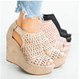 Tribal Laser-Cut Wedges Peep Toe Magic Tape Women Sandals