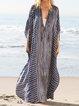 Stripe Plus Size Beach Vacation Women Maxi Kaftans Dresses