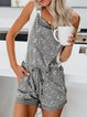 Light Gray Pockets Patchwork Sexy Cotton-Blend One-Pieces