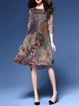 Multicolor Women Daytime 3/4 Sleeve Elegant Printed Floral Elegant Dress