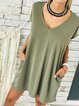Casual Plain V-neck Short Sleeve Pockets Dress