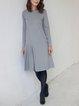 Light Gray Long Sleeve Linen Dresses