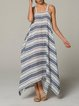 Casual Sleeveless Plus Size Striped Dress