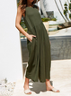 Crew Neck Sleeveless Solid Boho Jumpsuits