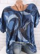 Plus Size Short Sleeve Casual Patchwork Shirts & Tops