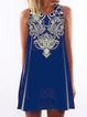 Blue Women Summer Dresses Swing Daily Boho Mini Dresses