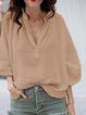 Casual V Neck 3/4 Sleeve Linen Blouse