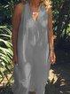 V Neck Women Casual Linen Dresses