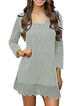 Women Daily Long Sleeve Paneled Plain Spring Dress