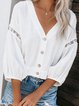 Casual 3/4 Sleeve V Neck Plus Size Tops