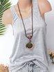 Casual Cotton-Blend Sleeveless Shirts & Tops