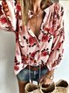 Cotton-Blend Long Sleeve Casual V Neck Shirts & Tops