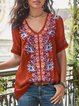 Plus Size Cotton-Blend Patchwork Women Summer Blouses