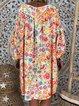 Women Boho Floral Midi Dresses V Neck Shift Dresses