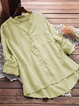 Women Causal Long Sleeve Solid Stand Collar Cotton Blouses