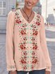 V Neck Casual Floral Floral-Print Shirts & Tops