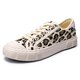 Women Casual Leopard Canvas Lace Up Flat Sneakers