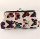 Women Sweet Butterfly Printed Wallet Canvas Evening Clutches Wristlet Purse
