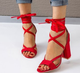 Women Peep Toe Chunky Heel Lace-up Pumps Summer Sandals