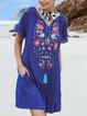 V Neck Floral-Print Short Sleeve Floral Dresses