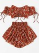 Bow Floral-print Gathered Red Off Shoulder Short Sleeve Suits