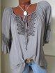 V Neck Cotton-Blend Shirts & Tops