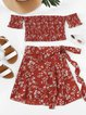Floral-print Shirred Red Shirred Sexy Off Shoulder Suits