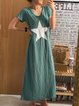 Green Cotton-Blend V Neck Casual Dresses