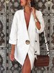 Plain V Neck Casual Linen Coat