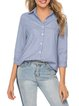 Womens Clothing Blue Buttoned 3/4 Sleeve Shirt Collar Striped Shirts