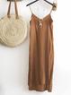 Solid Casual Spaghetti-Strap Dresses