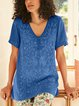 Short Sleeve Cotton-Blend V Neck Shirts & Tops