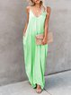 Casual Sleeveless V Neck Plus Size Maxi Dress