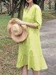 Women Linen Midi Dresses V Neck Flounce Daily Casual Plain Dresses