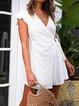 Asymmetric Solid Cotton-Blend Women Summer Mini Dresses