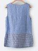 Cotton-Blend Buttoned Sleeveless V Neck Shirts & Tops