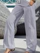 Light Gray Casual Striped Pants