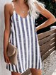 Casual Sleeveless V Neck Plus Size Striped Dress