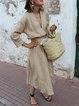 Khaki V Neck Solid Casual Dresses