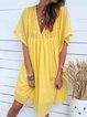 V Neck Women A-Line Plain Dresses