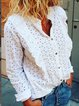 White Patchwork Casual Long Sleeve Shirts & Tops