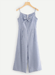 Bow Printed Striped Cotton-Blend Casual Spaghetti-Strap Jumpsuits