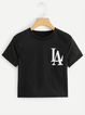 Printed Letter Black Casual Crew Neck T-Shirts