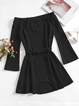 Bow Lace-up Paneled Crew Neck A-Line Daily Dresses